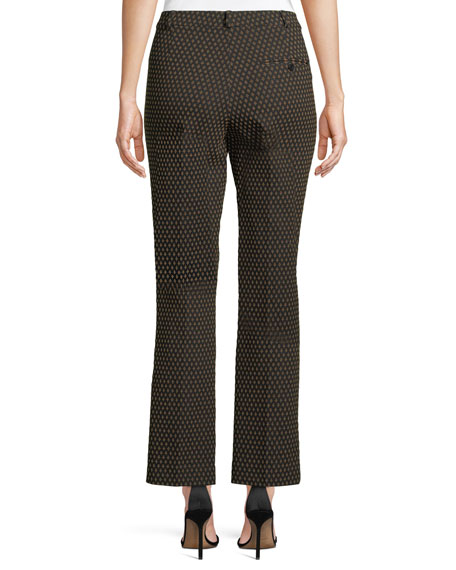 Straight-Leg Textured Dobby Cropped Pants