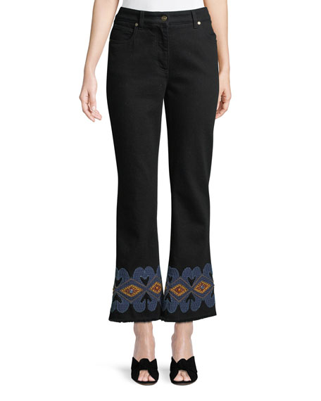 High-Rise Flared-Leg Jeans w/ Embroidered-Hem