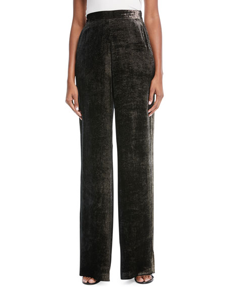 High-Waist Wide-Leg Flecked Velvet Pants