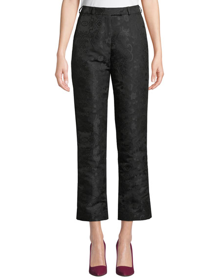 High-Rise Straight-Leg Jacquard Pants
