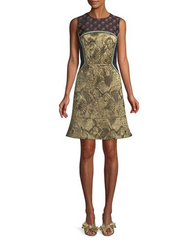 Sleeveless Metallic Mixed-Brocade Flared-Hem Dress