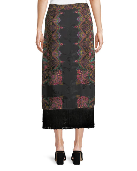 A-Line Paisley-Print Wrap Skirt w/ Fringe