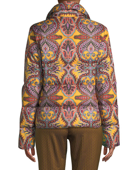 Paisley-Print Snap-Front Short Puffer Jacket