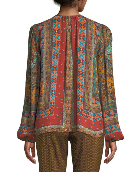 Tie-Neck Long-Sleeve Paisley-Print Silk Blouse