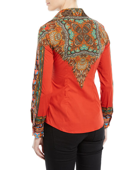 Long-Sleeve Button-Front Feather-Print Cotton Shirt