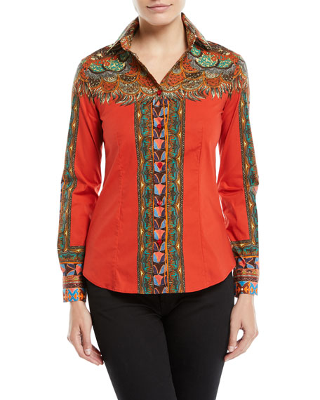 Etro Long-Sleeve Button-Front Feather-Print Cotton Shirt