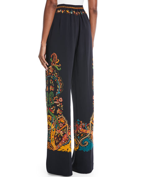 Wide-Leg Placed Paisley-Print Pants