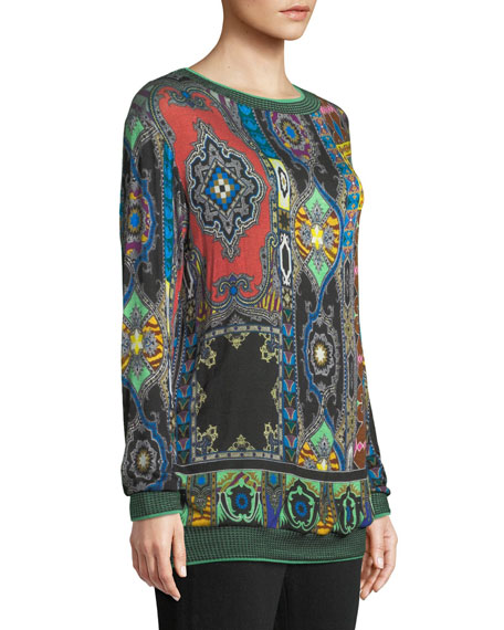 Crewneck Long-Sleeve Aztec Jersey Knit Tunic Sweater