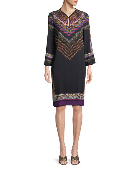 Long-Sleeve Floral-Print Shift Dress in Black