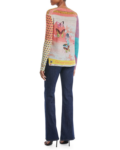 V-Neck Long-Sleeve Butterfly-Knit Paillette Sweater