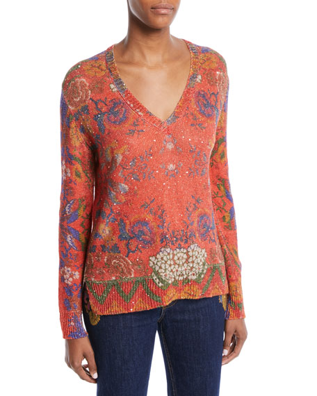 V-Neck Floral-Intarsia Knit Sweater w/ Paillettes