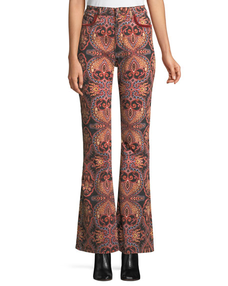 High-Rise Flared-Leg Damask-Print Jeans