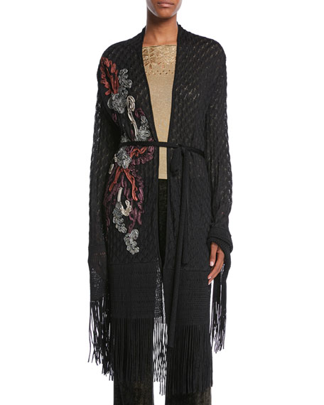 Embroidered Open-Front Belted Crochet Cardigan w/ Fringe