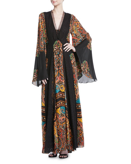 V-Neck Flared-Sleeve Damask-Print Silk Long Gown w/ Lace Insets