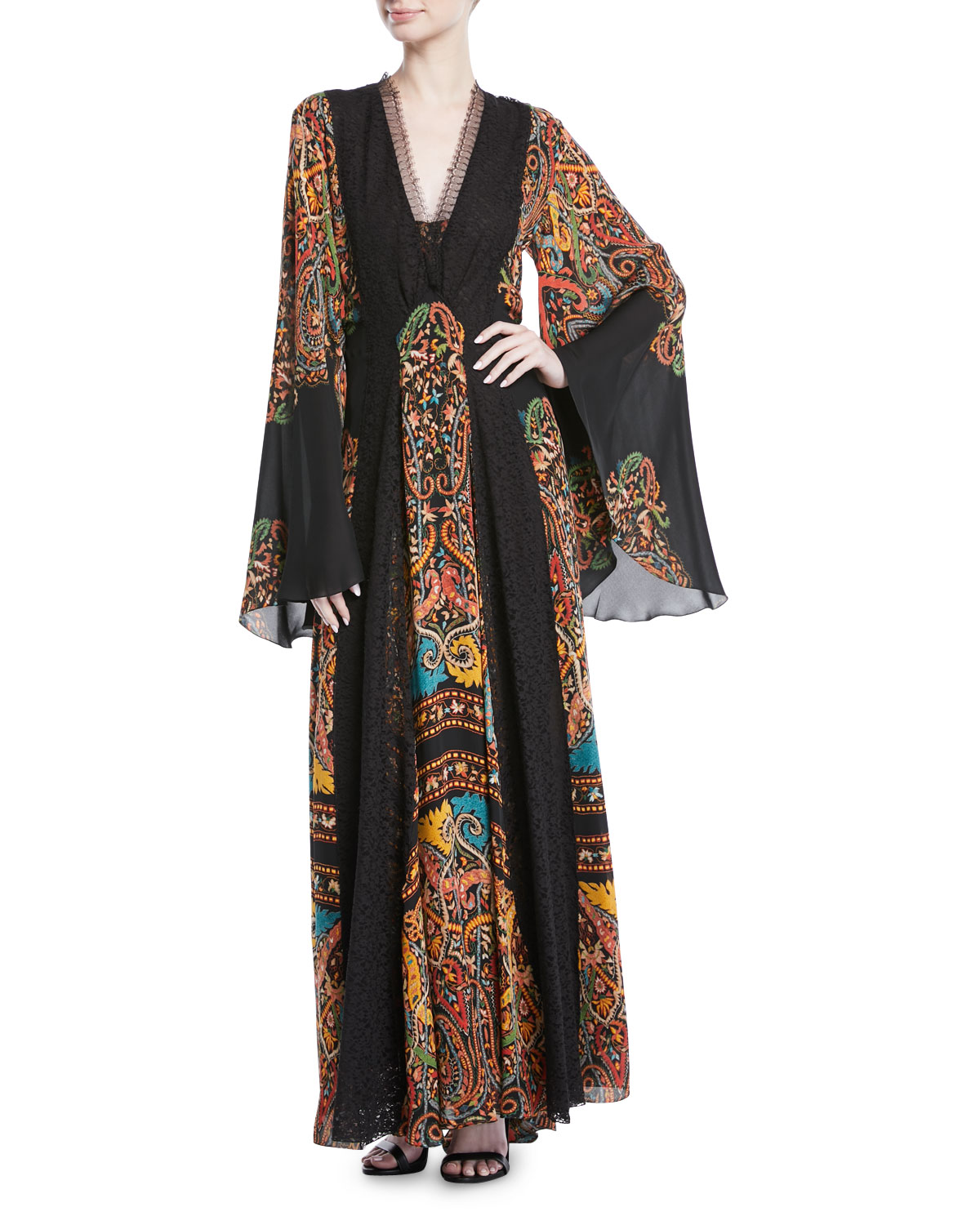 Etro V-Neck Flared-Sleeve Damask-Print Silk Long Gown w/ Lace Insets ...