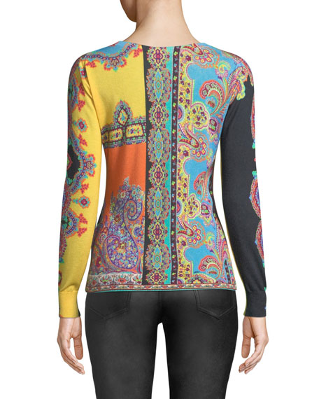 V-Neck Long-Sleeve Multi-Print Silk-Cashmere Top
