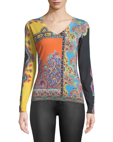 Etro V-Neck Long-Sleeve Multi-Print Silk-Cashmere Top