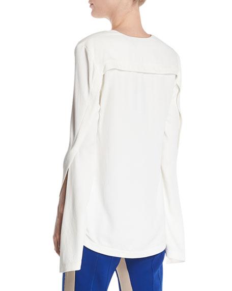 V-Neck Split-Sleeves Asymmetrical-Seams Pebble Crepe Top