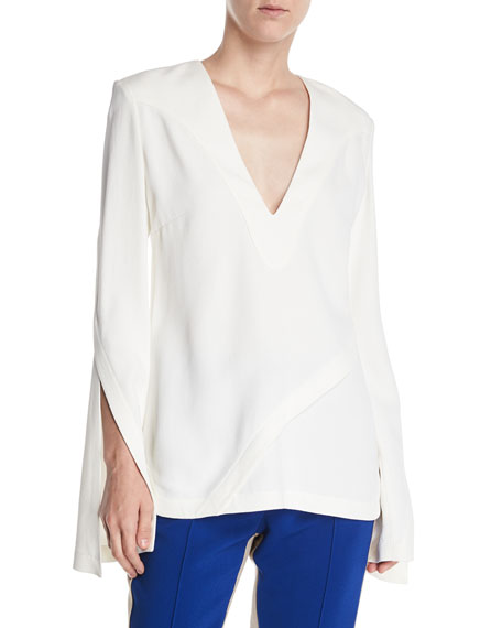 Derek Lam V-Neck Split-Sleeves Asymmetrical-Seams Pebble Crepe