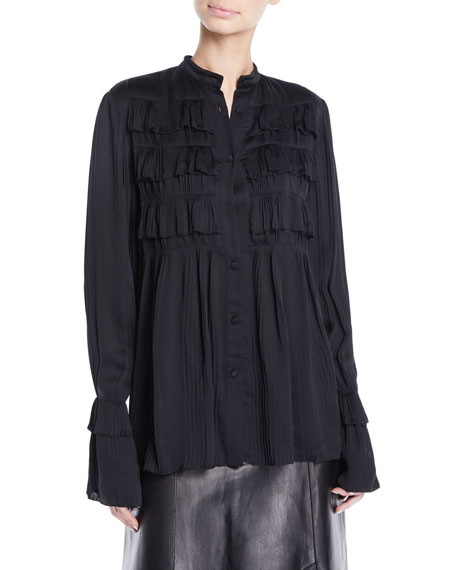 Derek Lam Button-Front Long-Sleeve Plisse Pleated Shirt w/