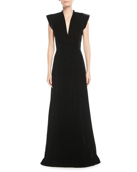 V-Neck Cap-Sleeve A-Line Velvet Evening Gown