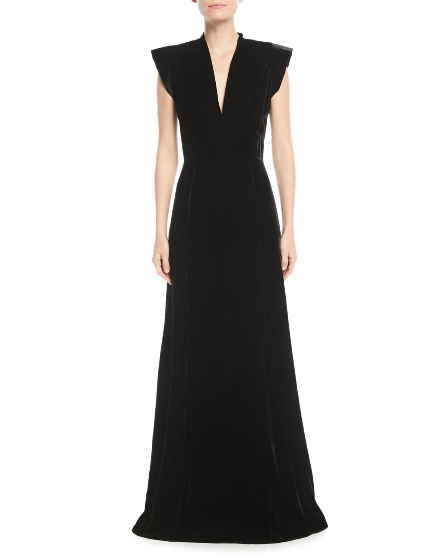 Derek Lam V Neck Cap Sleeve A Line Velvet Evening Gown Neiman Marcus