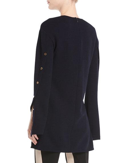 Long-Sleeve Wool Crepe Jersey Top w/ Snap Detail