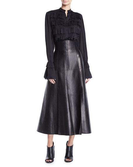 High-Waist A-Line Lamb Leather Skirt w/ Full Hem