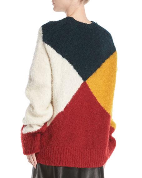 Crewneck Long-Sleeve Colorblock Brushed Alpaca Sweater