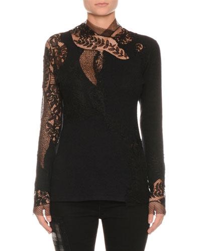 Long-Sleeve Floral-Lace Pashmina Top