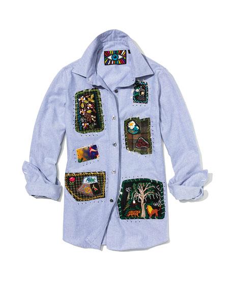 Long-Sleeve Button-Front Patchwork Classic Cotton Shirt