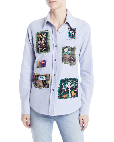 Long-Sleeve Button-Front Patchwork Classic Cotton Shirt