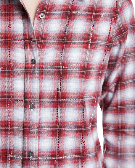 Button-Front Long-Sleeve Classic Beaded Plaid Cotton Shirt