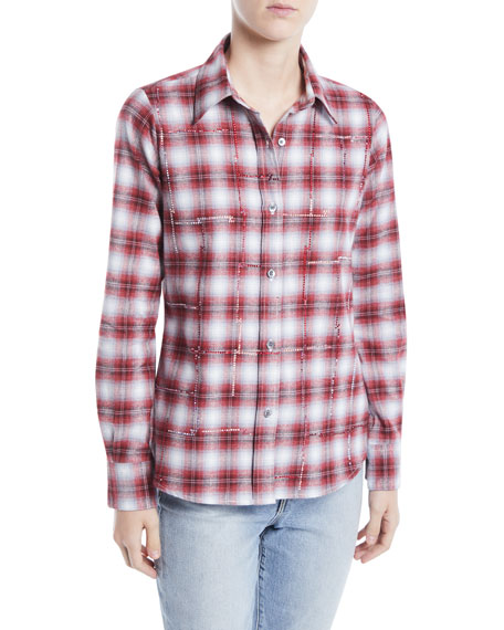LIBERTINE Button-Front Long-Sleeve Classic Beaded Plaid Cotton Shirt in Multi