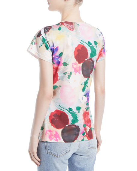Crewneck Cap-Sleeve Painted Flowers Tee