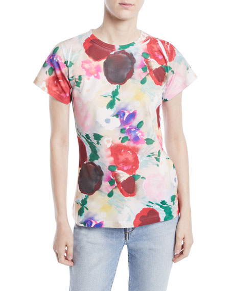 LIBERTINE Crewneck Cap-Sleeve Painted Flowers Tee in Multi