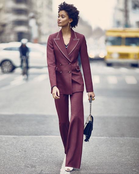Alba V-Neck Long-Sleeve Cashmere Sweater w/ Striped Trim