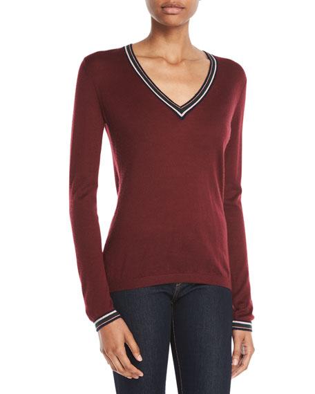 Gabriela Hearst Alba V-Neck Long-Sleeve Cashmere Sweater w/