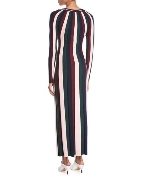 Almeida V-Neck Long-Sleeve Vertical Stripe Ankle-Length Wool Dress