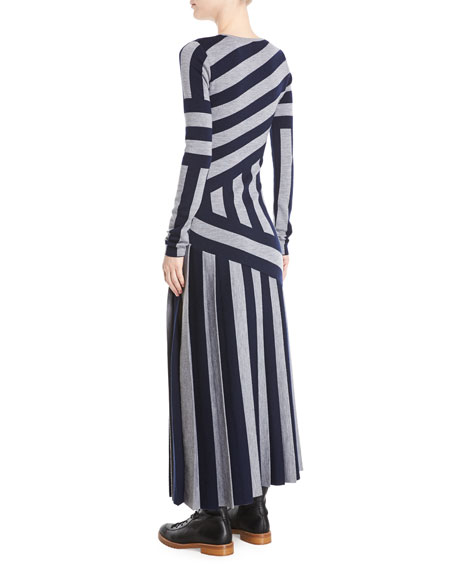 Felicia Crewneck Long-Sleeve Asymmetric Stripe Wool Ankle-Length Dress