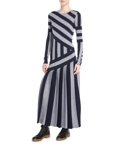 Felicia Crewneck Long-Sleeve Asymmetric Stripe Wool Ankle-Length Dress
