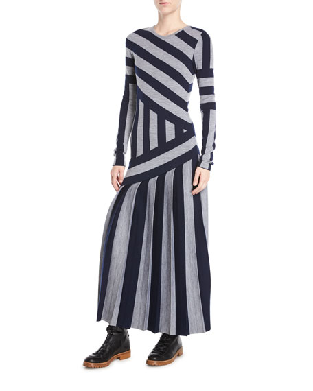 Gabriela Hearst Felicia Crewneck Long-Sleeve Asymmetric Stripe