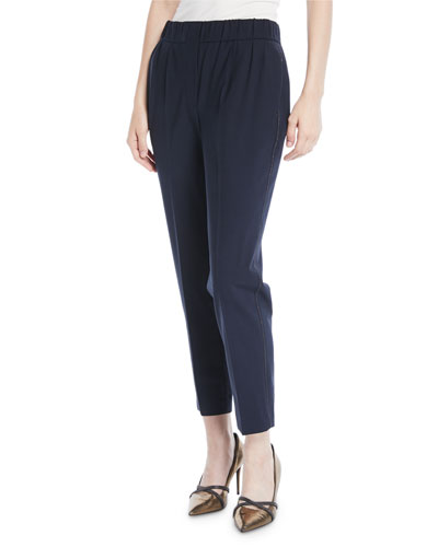Lightweight Wool Tapered-Leg Pull-On Pants w/ Monili Trim