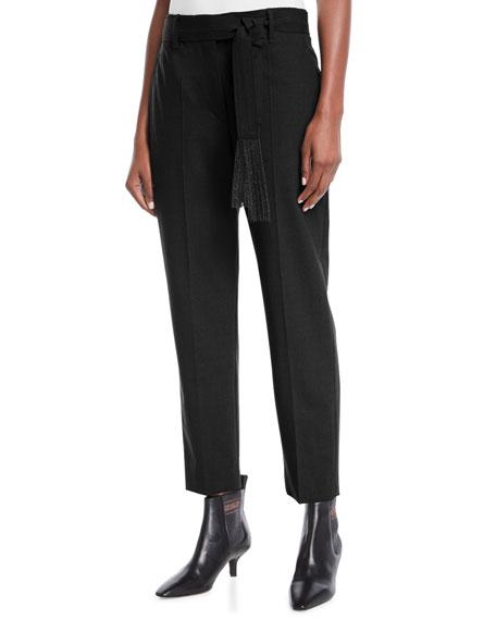 Brunello Cucinelli Lightweight Wool-Blend Relaxed-Leg Pants w/