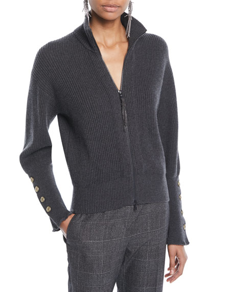 Brunello Cucinelli Mock-Neck Zip-Front Ribbed Cashmere Jacket w/