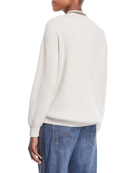 Monili Deep V-Neck Ribbed Cashmere Sweater