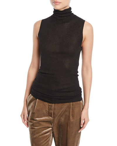 Turtleneck Sleeveless Metallic-Knit Top