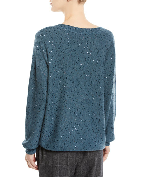V-Neck Long-Sleeve Paillette Silk-Cashmere Sweater