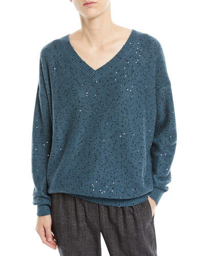 V-Neck Long-Sleeve Paillette Silk-Cashmere Sweater