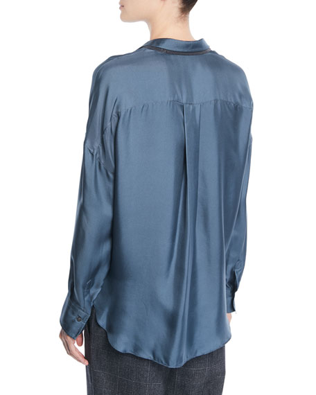Button-Front Long-Sleeve Silk-Twill Blouse w/ Monili Under-Collar